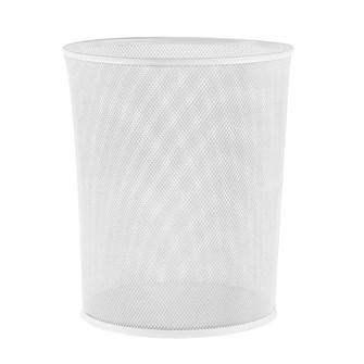 File Delikli Metal Çöp Kovası Beyaz