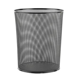 File Delikli Metal Çöp Kovası Siyah